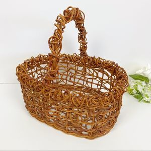 Maple Brown Twisted Wicker Hand Basket